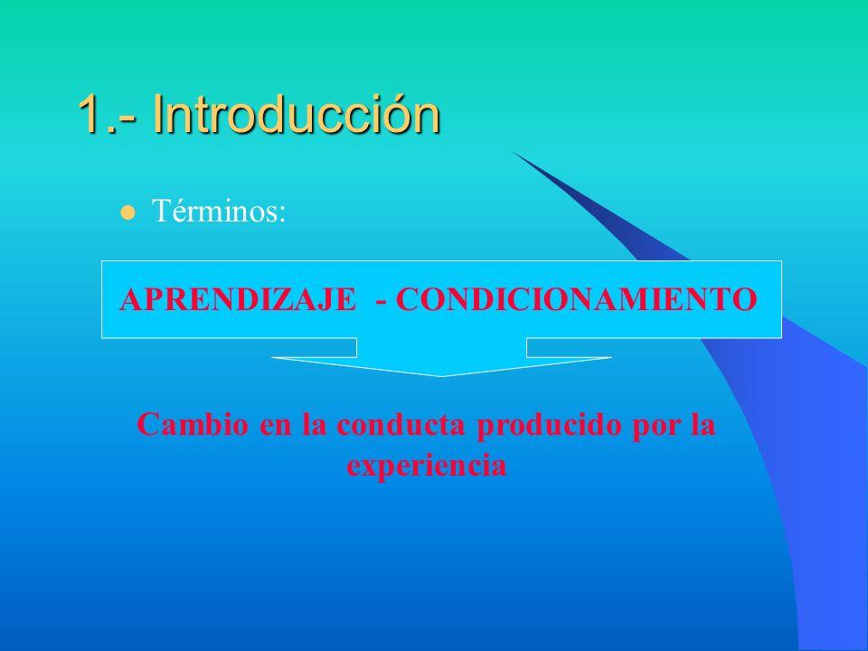 1.- Introducción Términos: APRENDIZAJE - CONDICIONAMIENTO Cambio en la conducta producido por la experiencia