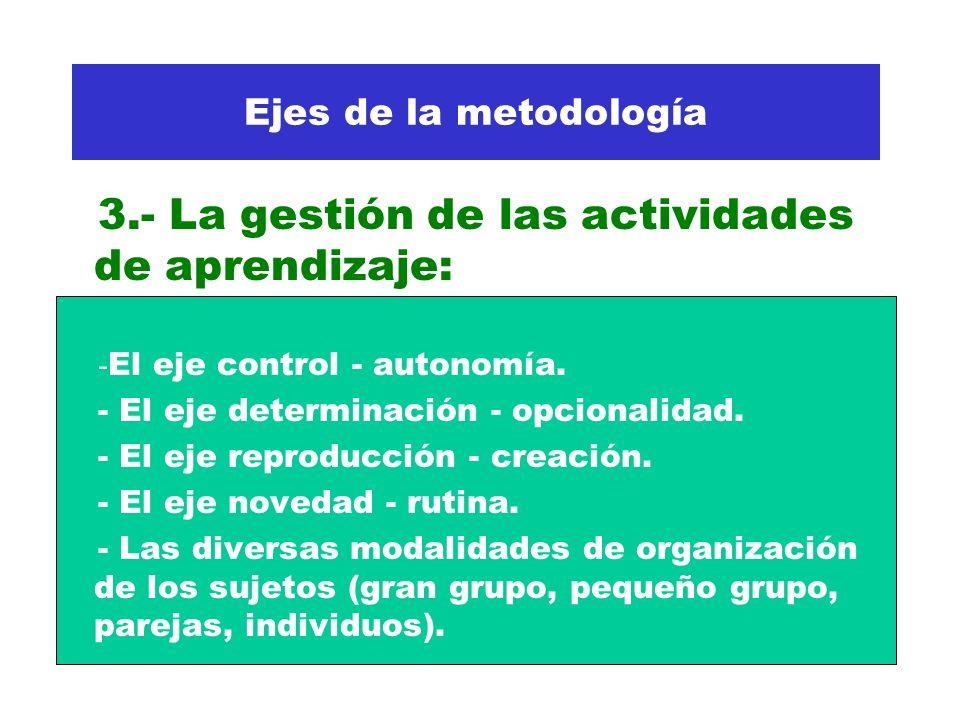 Ejes de la metodología 3.- La gestión de las actividades de aprendizaje: - El eje control - autonomía. - El eje determinación - opcionalidad. - El eje