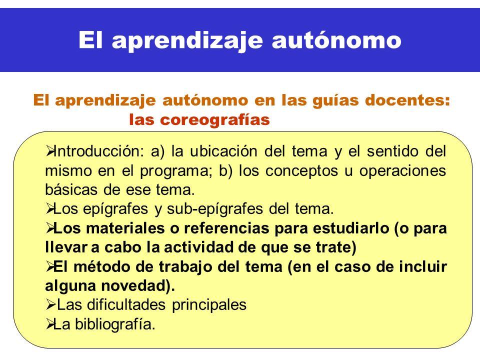 El aprendizaje autónomo Introducción: a) la ubicación del tema y el sentido del mismo en el programa; b) los conceptos u operaciones básicas de ese te