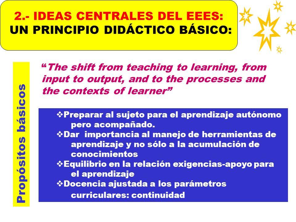 2.- IDEAS CENTRALES DEL EEES: UN PRINCIPIO DIDÁCTICO BÁSICO: Propósitos básicos Preparar al sujeto para el aprendizaje autónomo pero acompañado. Dar i