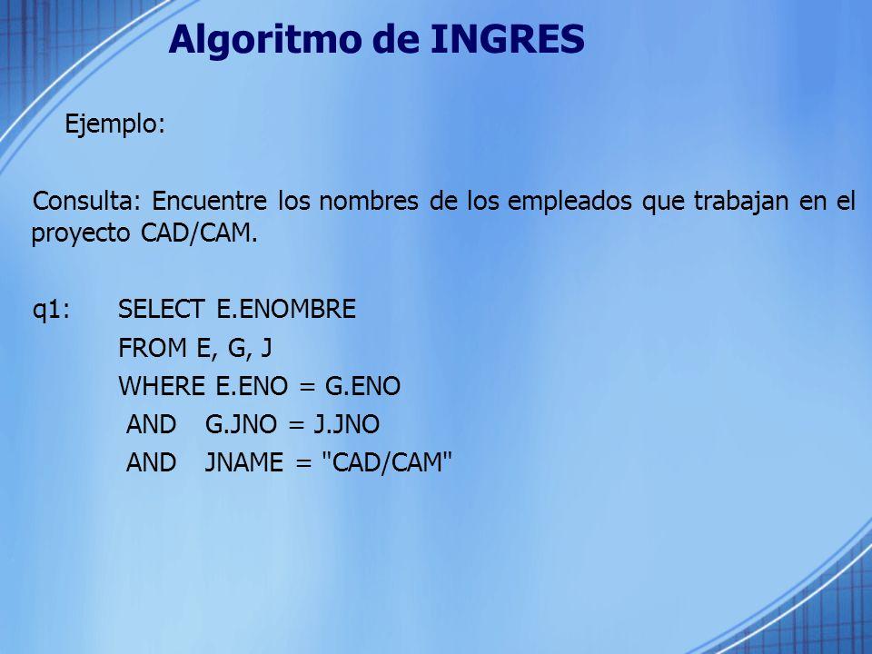 Algoritmo de INGRES Ejemplo: Consulta: Encuentre los nombres de los empleados que trabajan en el proyecto CAD/CAM. q1: SELECT E.ENOMBRE FROM E, G, J W