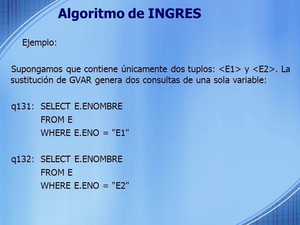 Algoritmo de INGRES Ejemplo: Supongamos que contiene únicamente dos tuplos: y. La sustitución de GVAR genera dos consultas de una sola variable: q131: