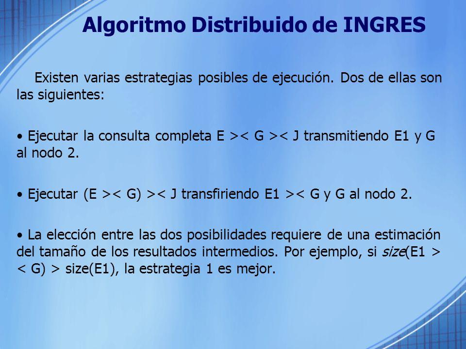 Algoritmo Distribuido de INGRES Existen varias estrategias posibles de ejecución. Dos de ellas son las siguientes: Ejecutar la consulta completa E > <