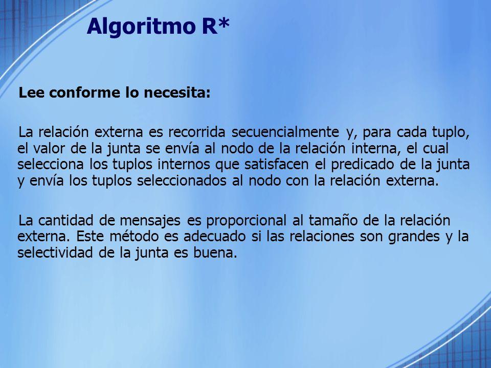 Algoritmo R* Lee conforme lo necesita: La relación externa es recorrida secuencialmente y, para cada tuplo, el valor de la junta se envía al nodo de l