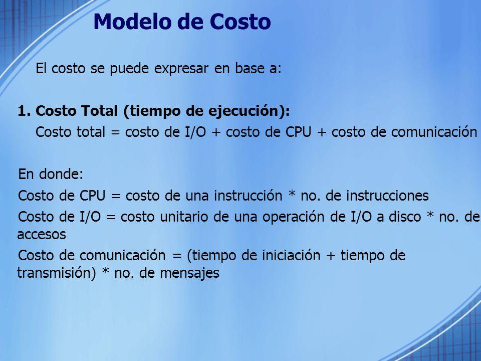 Modelo de Costo El costo se puede expresar en base a: 1. Costo Total (tiempo de ejecución): Costo total = costo de I/O + costo de CPU + costo de comun