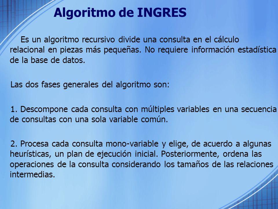 Algoritmo de INGRES Es un algoritmo recursivo divide una consulta en el cálculo relacional en piezas más pequeñas. No requiere información estadística