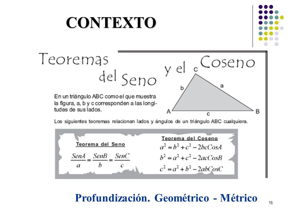 16 CONTEXTO Profundización. Geométrico - Métrico