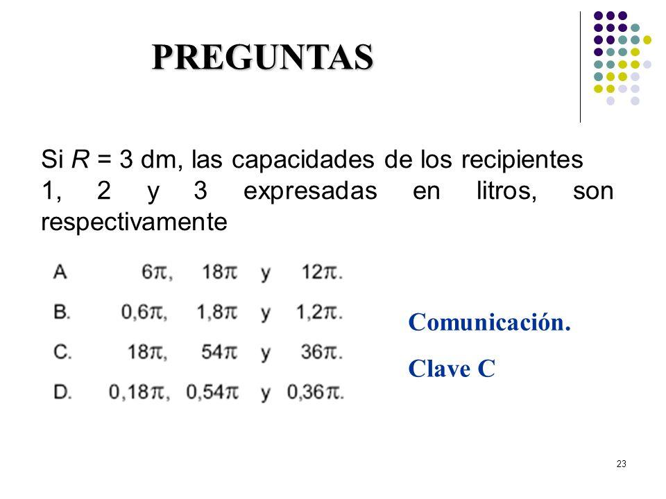 23 Si R = 3 dm, las capacidades de los recipientes 1, 2 y 3 expresadas en litros, son respectivamente PREGUNTAS Comunicación. Clave C