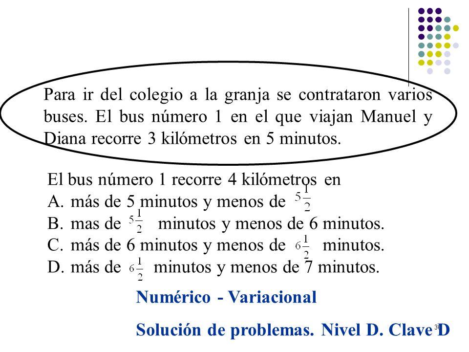 36 Para ir del colegio a la granja se contrataron varios buses. El bus número 1 en el que viajan Manuel y Diana recorre 3 kilómetros en 5 minutos. El