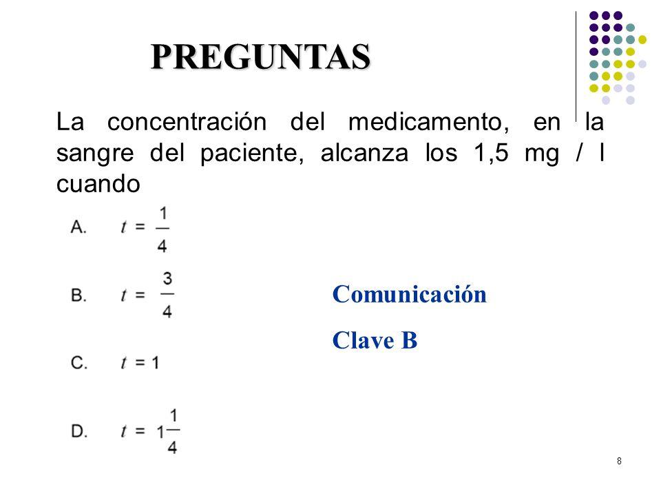 8 La concentración del medicamento, en la sangre del paciente, alcanza los 1,5 mg / l cuando PREGUNTAS Comunicación Clave B