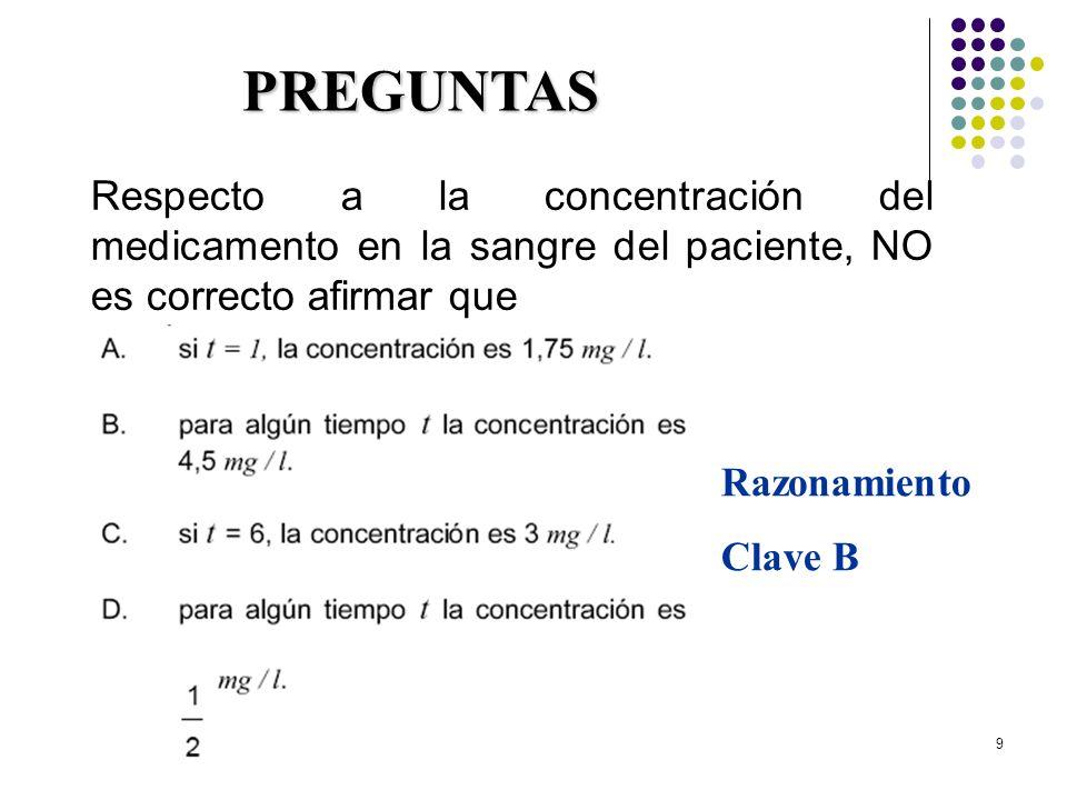 9 Respecto a la concentración del medicamento en la sangre del paciente, NO es correcto afirmar que PREGUNTAS Razonamiento Clave B