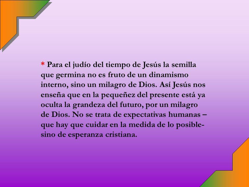 * Ya Jesús nos previno: « ¿Con qué compararemos el Reino de Dios o con qué parábola lo expondremos.