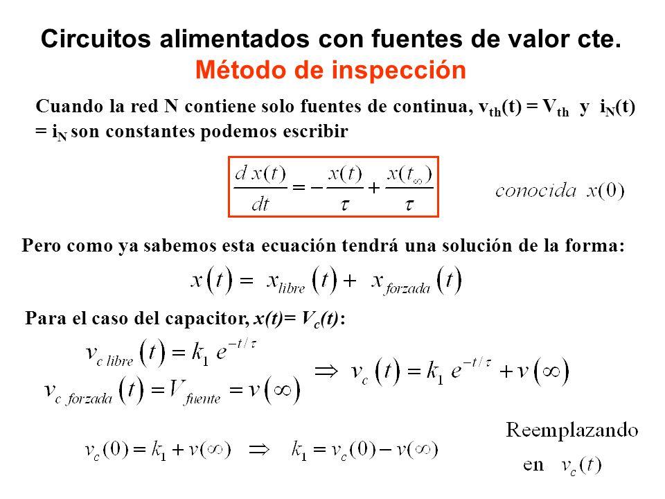 Cuando la red N contiene solo fuentes de continua, v th (t) = V th y i N (t) = i N son constantes podemos escribir Circuitos alimentados con fuentes d