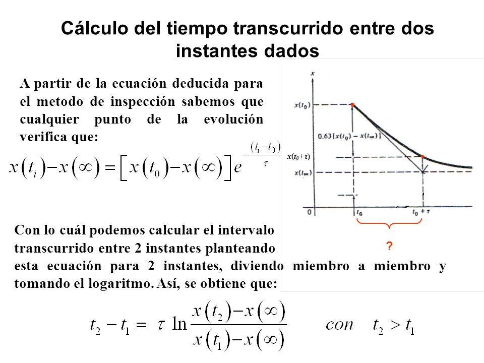 Cálculo del tiempo transcurrido entre dos instantes dados A partir de la ecuación deducida para el metodo de inspección sabemos que cualquier punto de