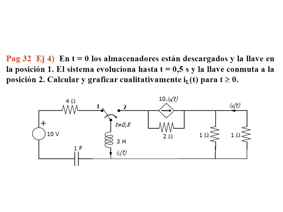 Pag 32 Ej 4) En t = 0 los almacenadores están descargados y la llave en la posición 1. El sistema evoluciona hasta t = 0,5 s y la llave conmuta a la p