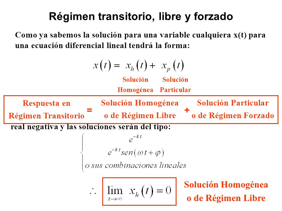 Como ya sabemos la solución para una variable cualquiera x(t) para una ecuación diferencial lineal tendrá la forma: Régimen transitorio, libre y forza