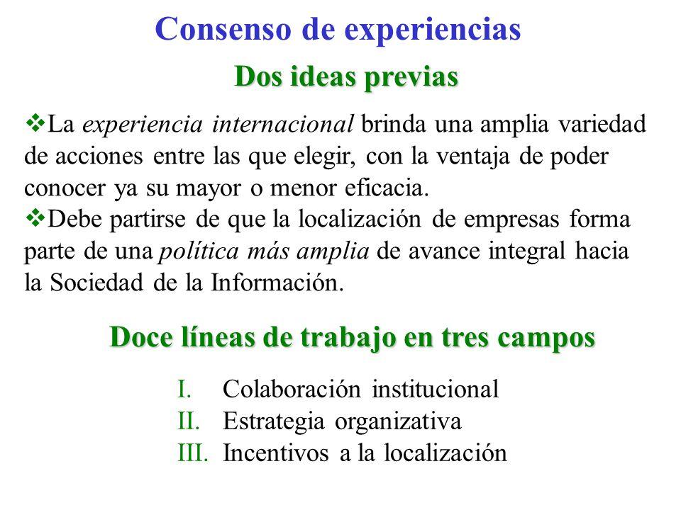 Consenso de experiencias Dos ideas previas Doce líneas de trabajo en tres campos La experiencia internacional brinda una amplia variedad de acciones e