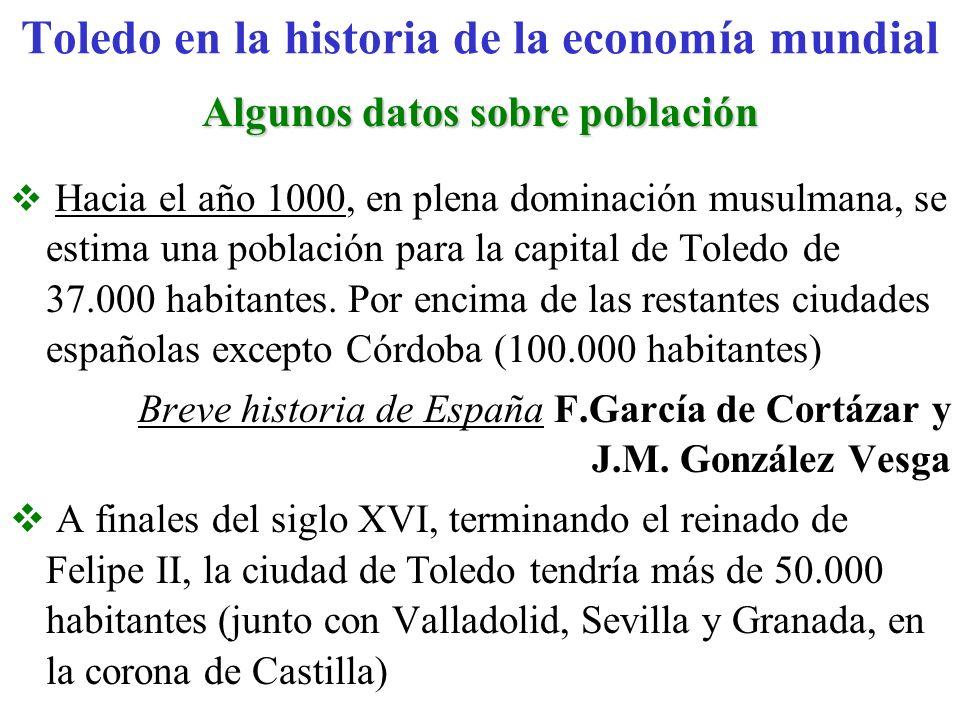 Algunos datos sobre población El entonces corregimiento de Toledo alcanzaría los 250.000 habitantes, a los que había que añadir unos 150.000 de la Mesa arzobispal de Toledo (más de 1.000 en la Universidad de Alcalá).