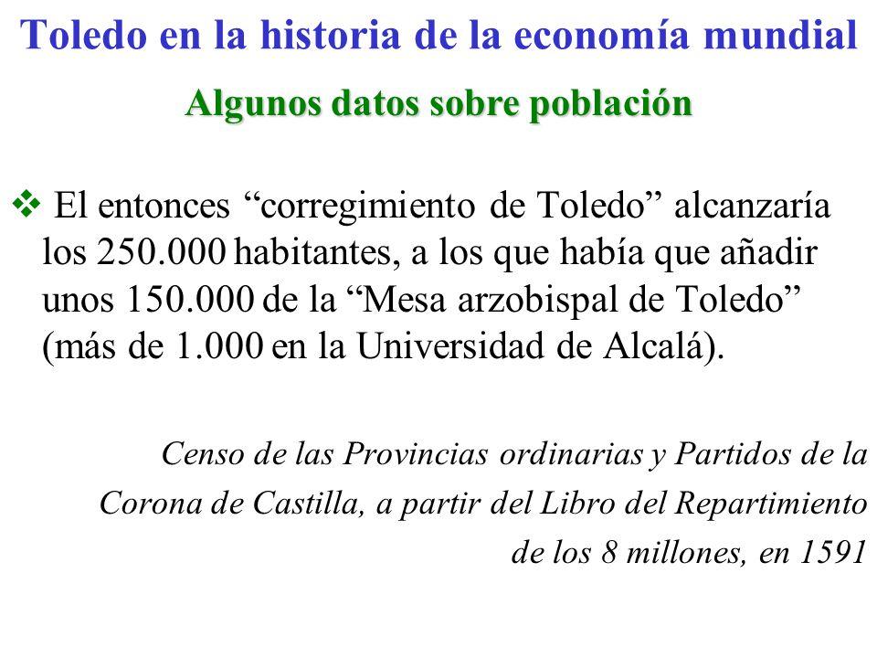 Algunos datos sobre población El entonces corregimiento de Toledo alcanzaría los 250.000 habitantes, a los que había que añadir unos 150.000 de la Mes
