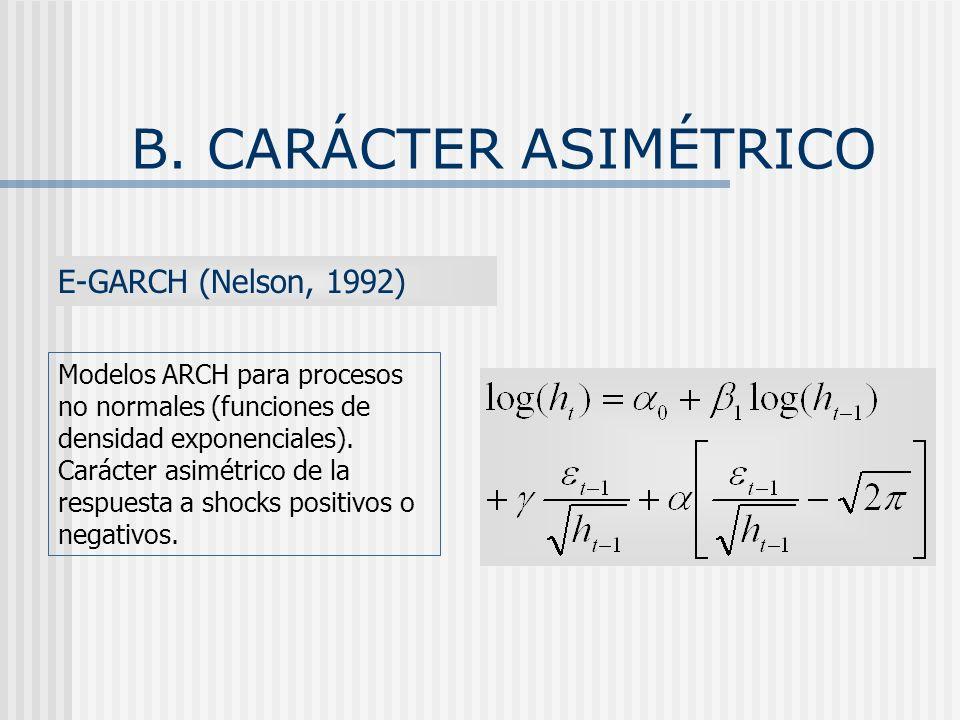 B. CARÁCTER ASIMÉTRICO E-GARCH (Nelson, 1992) Modelos ARCH para procesos no normales (funciones de densidad exponenciales). Carácter asimétrico de la