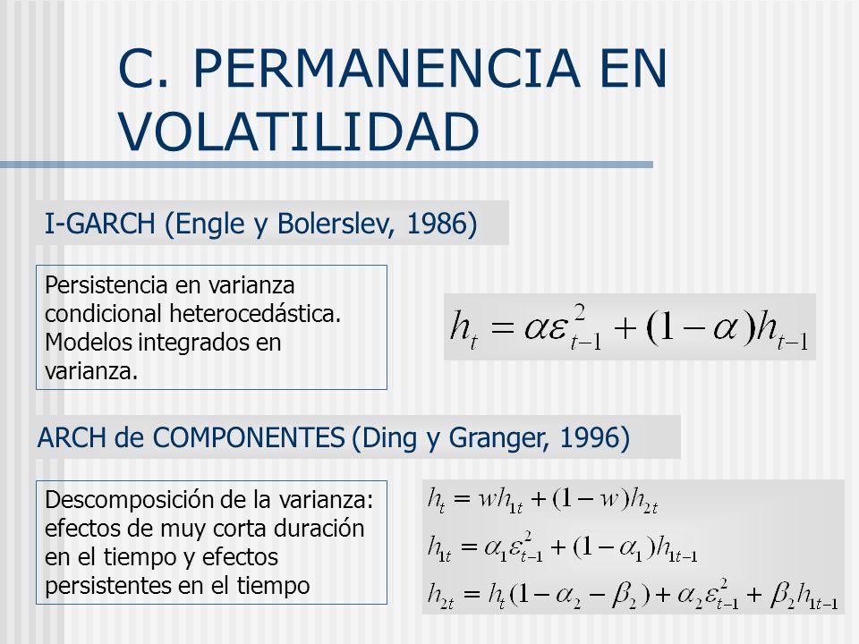 C. PERMANENCIA EN VOLATILIDAD I-GARCH (Engle y Bolerslev, 1986) Persistencia en varianza condicional heterocedástica. Modelos integrados en varianza.