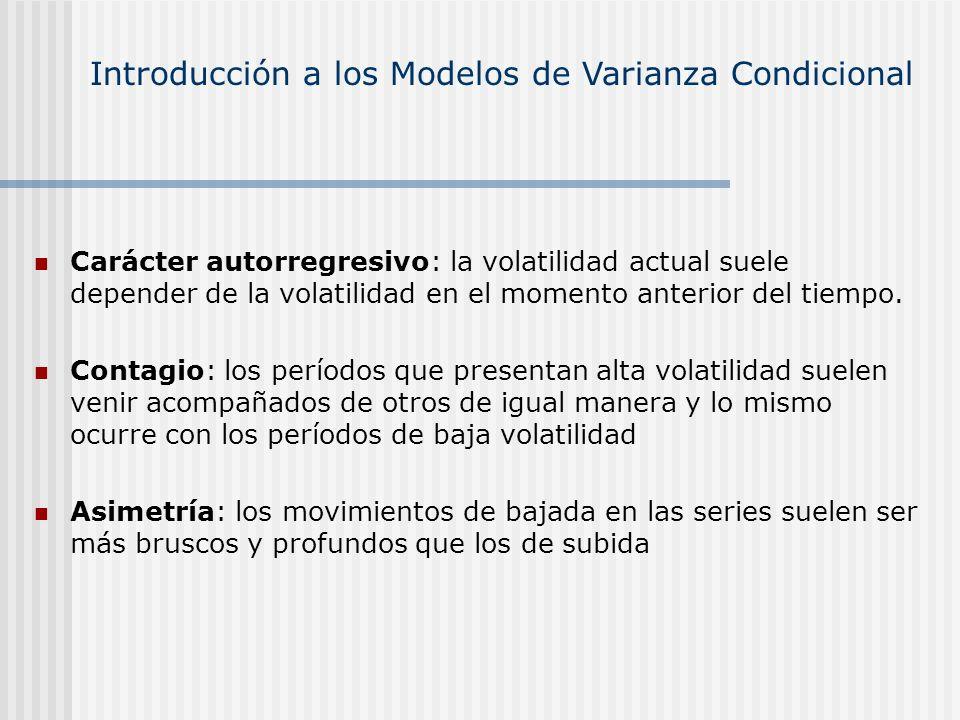 Carácter autorregresivo: la volatilidad actual suele depender de la volatilidad en el momento anterior del tiempo. Contagio: los períodos que presenta