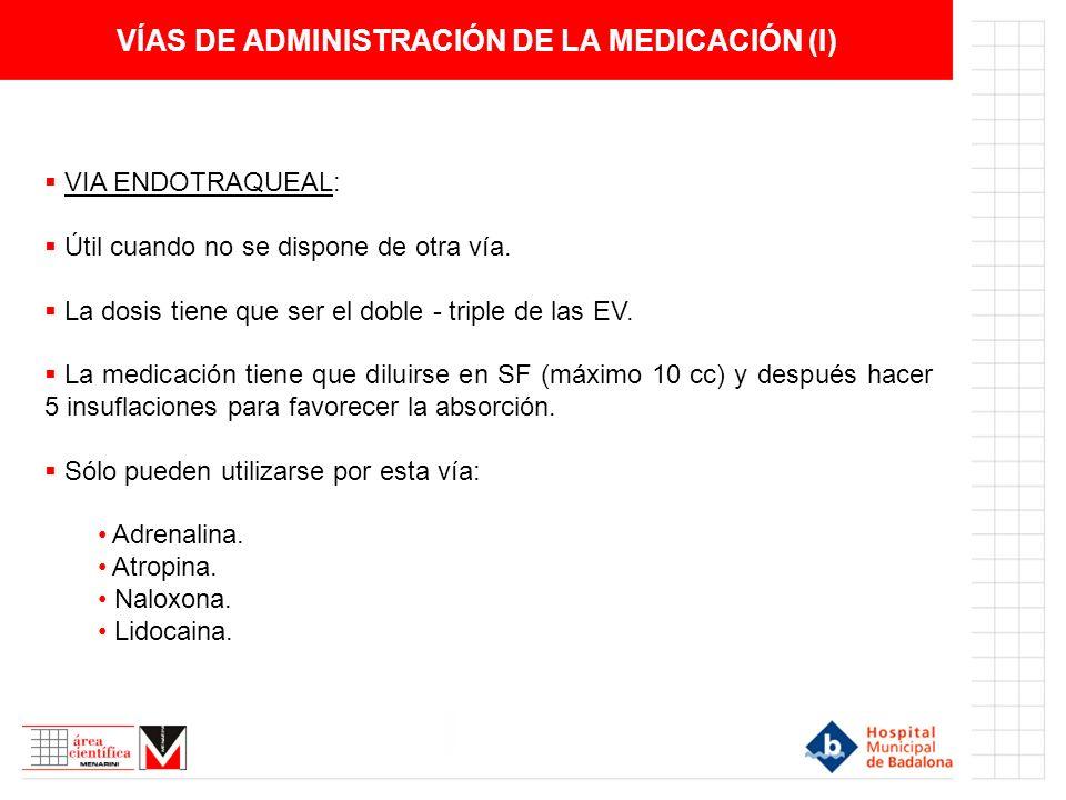 VÍAS DE ADMINISTRACIÓN DE LA MEDICACIÓN (I) VIA ENDOTRAQUEAL: Útil cuando no se dispone de otra vía.