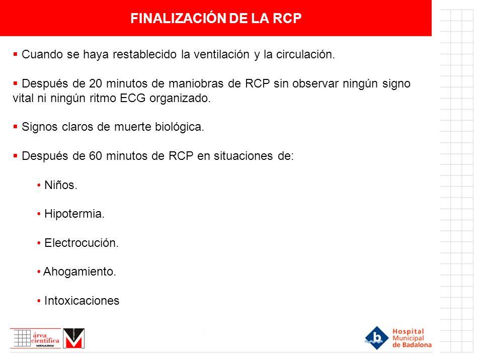 FINALIZACIÓN DE LA RCP Cuando se haya restablecido la ventilación y la circulación.