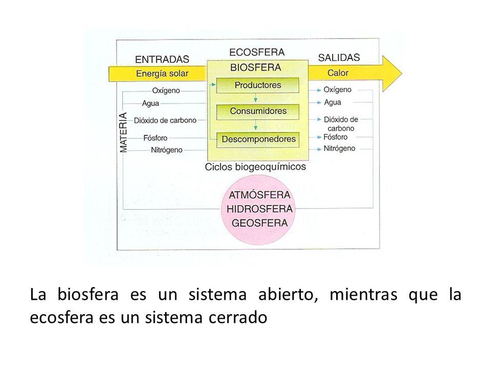 La biosfera es un sistema abierto, mientras que la ecosfera es un sistema cerrado
