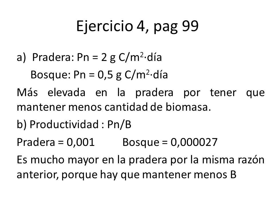 Ejercicio 4, pag 99 a)Pradera: Pn = 2 g C/m 2 ·día Bosque: Pn = 0,5 g C/m 2 ·día Más elevada en la pradera por tener que mantener menos cantidad de biomasa.