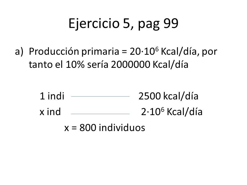 Ejercicio 5, pag 99 a)Producción primaria = 20·10 6 Kcal/día, por tanto el 10% sería 2000000 Kcal/día 1 indi 2500 kcal/día x ind 2·10 6 Kcal/día x = 800 individuos
