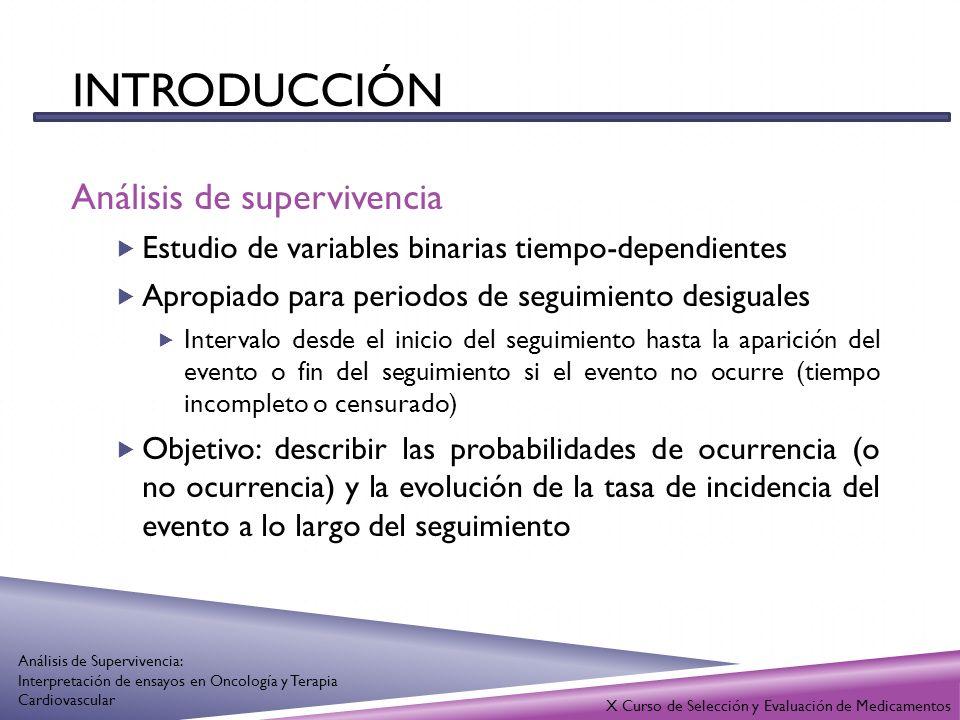 INTRODUCCIÓN Análisis de supervivencia Métodos estadísticos Kaplan – Meier Estima la probabilidad de supervivencia en un tiempo t multiplicando la probabilidad en un tiempo anterior (t-1) por la probabilidad condicionada de que los supervivientes en t-1 también sobrevivan en t Método Actuarial Agrupa el tiempo de participación en intervalos predeterminados y estima la probabilidad de supervivencia en los intervalos X Curso de Selección y Evaluación de Medicamentos Análisis de Supervivencia: Interpretación de ensayos en Oncología y Terapia Cardiovascular