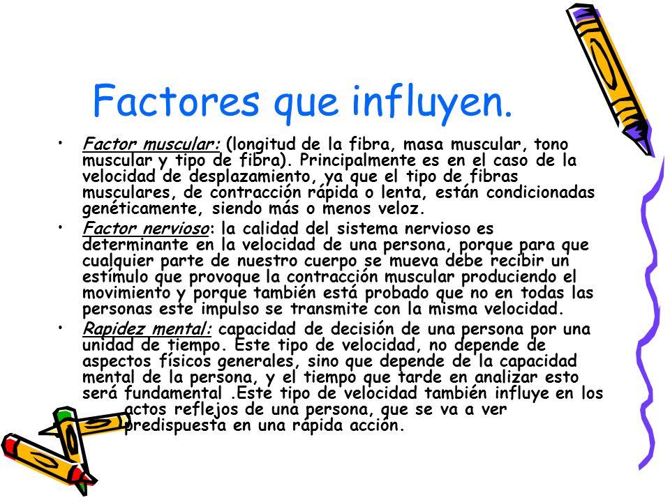 Factores que influyen. Factor muscular: (longitud de la fibra, masa muscular, tono muscular y tipo de fibra). Principalmente es en el caso de la veloc