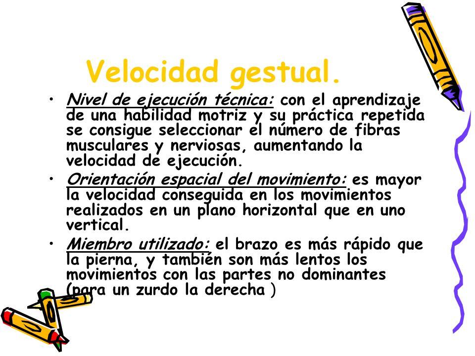 Velocidad gestual. Nivel de ejecución técnica: con el aprendizaje de una habilidad motriz y su práctica repetida se consigue seleccionar el número de