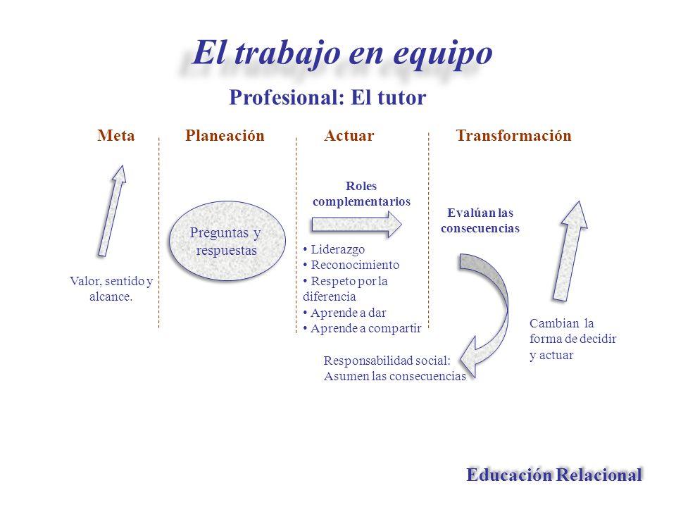 Profesional: El tutor Educación Relacional El trabajo en equipo Preguntas y respuestas Preguntas y respuestas Planeación Responsabilidad social: Asume
