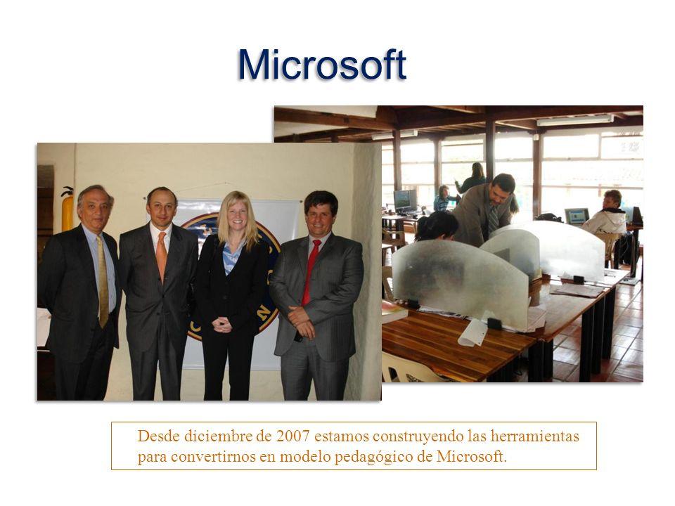 Microsoft Desde diciembre de 2007 estamos construyendo las herramientas para convertirnos en modelo pedagógico de Microsoft.