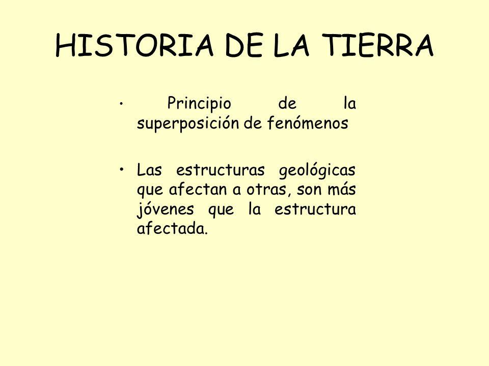 HISTORIA DE LA TIERRA Principio de la superposición de fenómenos Las estructuras geológicas que afectan a otras, son más jóvenes que la estructura afectada.