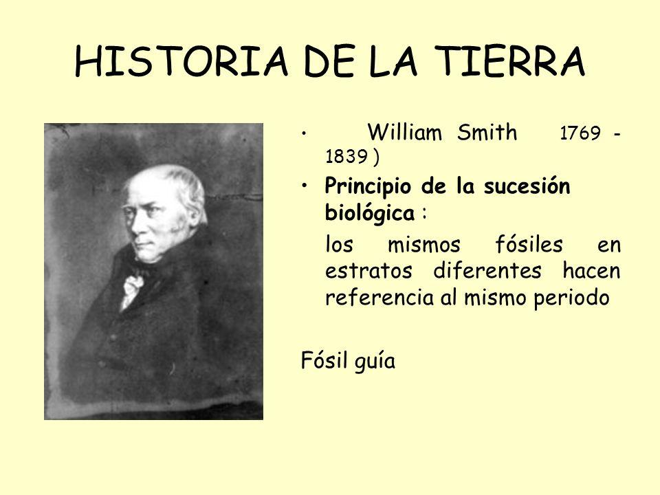 William Smith 1769 - 1839 ) Principio de la sucesión biológica : los mismos fósiles en estratos diferentes hacen referencia al mismo periodo Fósil guía