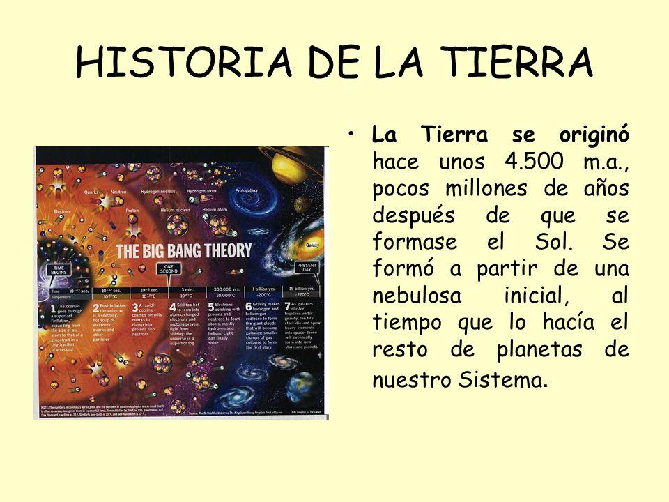 HISTORIA DE LA TIERRA La Tierra se originó hace unos 4.500 m.a., pocos millones de años después de que se formase el Sol. Se formó a partir de una neb