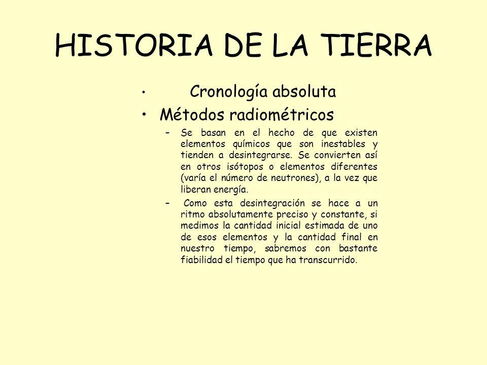 Cronología absoluta Métodos radiométricos –Se basan en el hecho de que existen elementos químicos que son inestables y tienden a desintegrarse. Se con