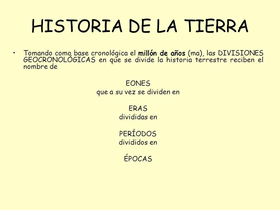 HISTORIA DE LA TIERRA Tomando como base cronológica el millón de años (ma), las DIVISIONES GEOCRONOLÓGICAS en que se divide la historia terrestre reciben el nombre de EONES que a su vez se dividen en ERAS divididas en PERÍODOS divididos en ÉPOCAS