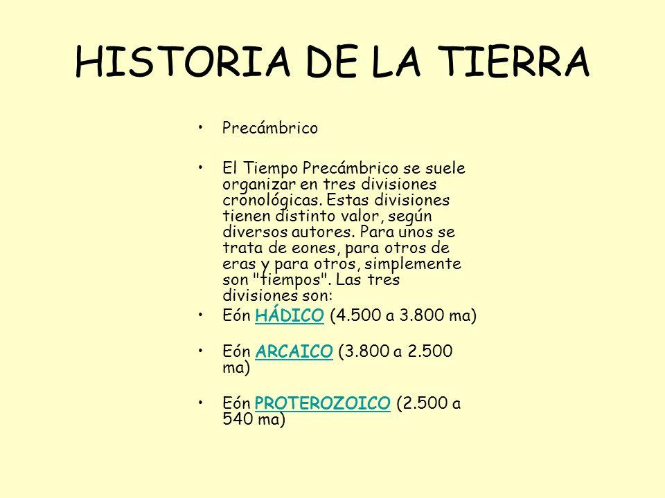 HISTORIA DE LA TIERRA Precámbrico El Tiempo Precámbrico se suele organizar en tres divisiones cronológicas. Estas divisiones tienen distinto valor, se