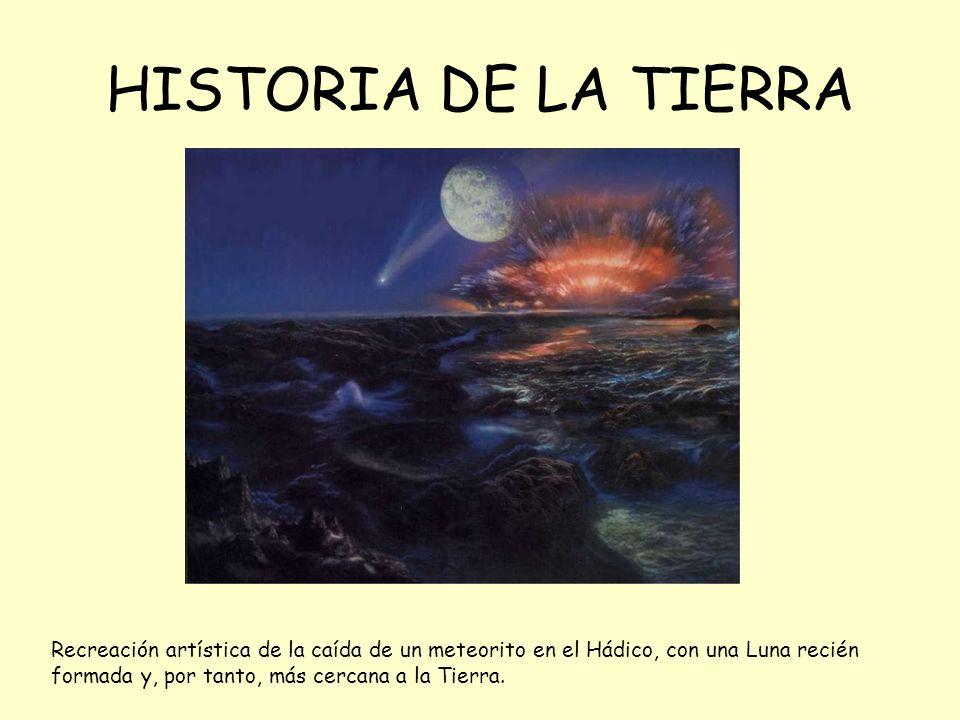 HISTORIA DE LA TIERRA Recreación artística de la caída de un meteorito en el Hádico, con una Luna recién formada y, por tanto, más cercana a la Tierra.