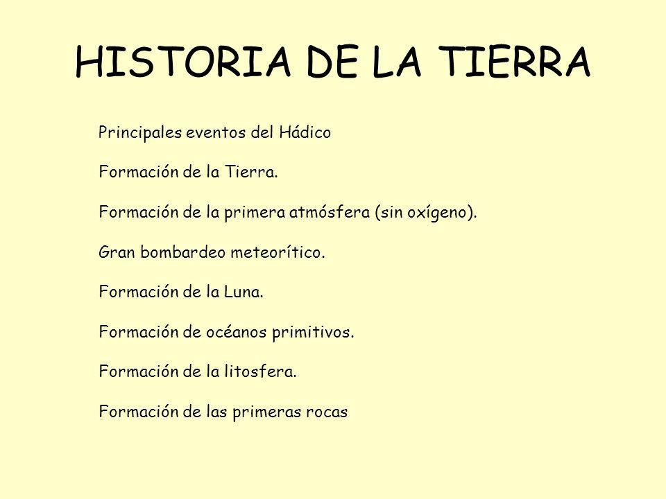 HISTORIA DE LA TIERRA Principales eventos del Hádico Formación de la Tierra.