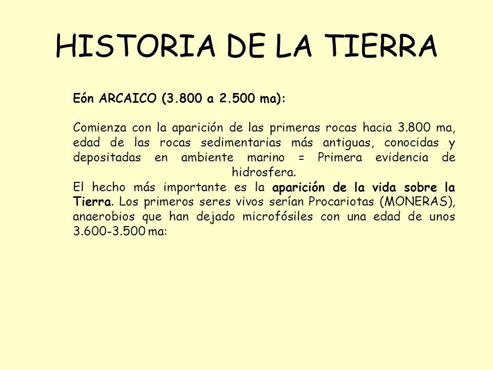 HISTORIA DE LA TIERRA Eón ARCAICO (3.800 a 2.500 ma): Comienza con la aparición de las primeras rocas hacia 3.800 ma, edad de las rocas sedimentarias más antiguas, conocidas y depositadas en ambiente marino = Primera evidencia de hidrosfera.