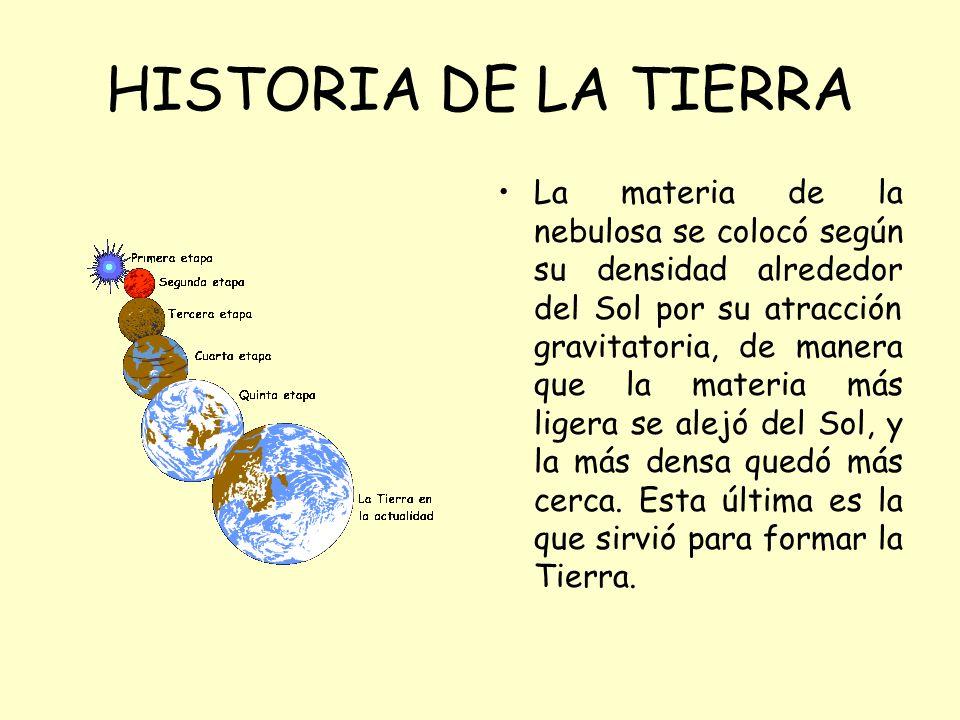 HISTORIA DE LA TIERRA La materia de la nebulosa se colocó según su densidad alrededor del Sol por su atracción gravitatoria, de manera que la materia más ligera se alejó del Sol, y la más densa quedó más cerca.