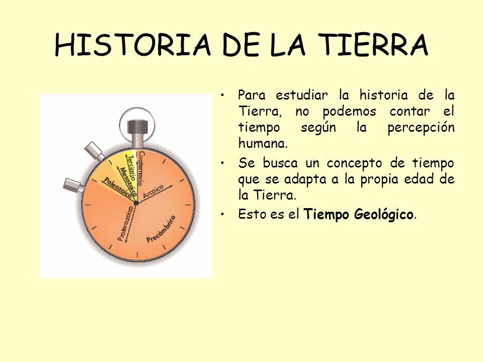 Para estudiar la historia de la Tierra, no podemos contar el tiempo según la percepción humana. Se busca un concepto de tiempo que se adapta a la prop