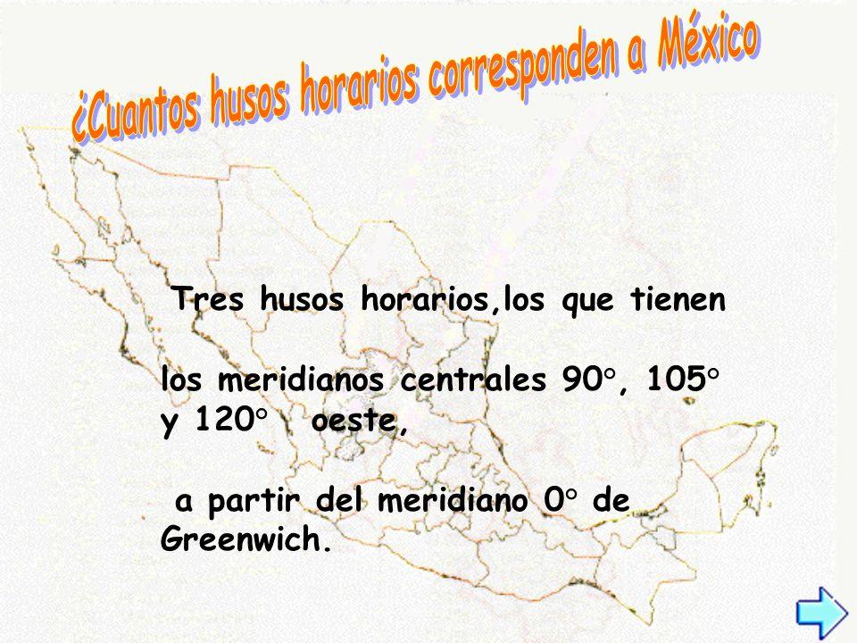Tres husos horarios,los que tienen los meridianos centrales 90°, 105° y 120° oeste, a partir del meridiano 0° de Greenwich.