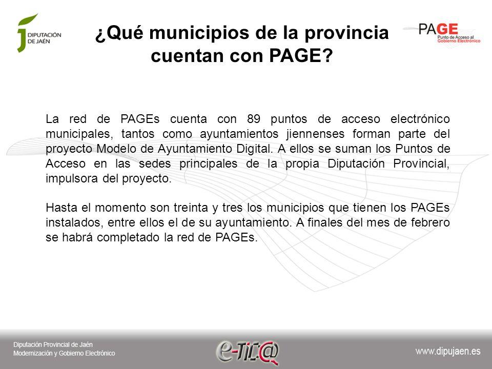 ¿Qué municipios de la provincia cuentan con PAGE.