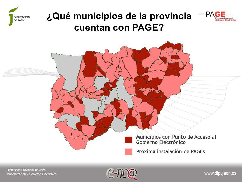 ¿Qué municipios de la provincia cuentan con PAGE